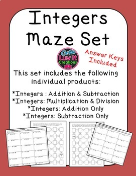 Integers Bundle: Addition, Subtraction, Multiplication, Di