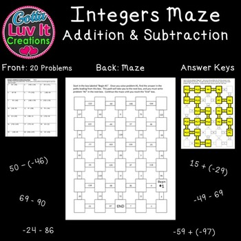 Integers: Addition & Subtraction - 2 Mazes