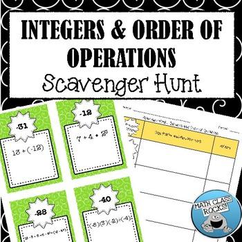 Integers & Order of Operations Scavenger Hunt! (Task Cards)