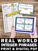 Real World Integer Phrases Task Cards 6th 7th Grade Math G