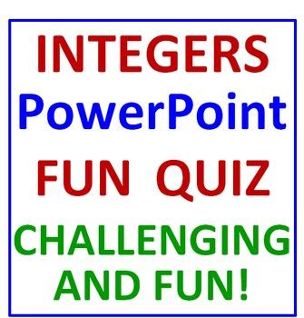 Integers PowerPoint Fun Quiz
