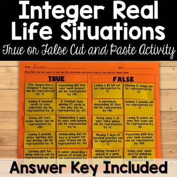 Integers Real Life SituationsTrue or False Activity