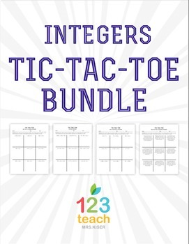 Integer Review Activity Bundle - Partner Tic Tac Toe