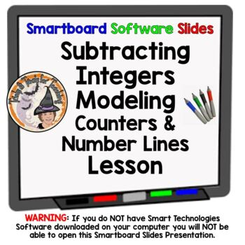 Integers Subtracting Integers w/Modeling & More Smartboard Lesson