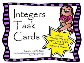 Integers Task Cards