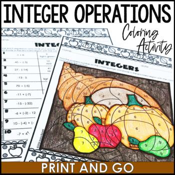 Thanksgiving Math Activity: Integers