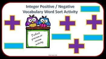 Integers: Positive & Negative Vocabulary Word Sort Activity