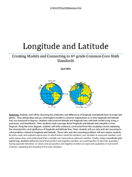 Integrating Longitude and Latitude with 6th Grade Common C