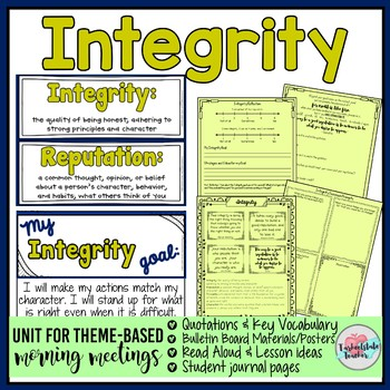 Integrity and Character Morning Meeting Quotations Vocabul