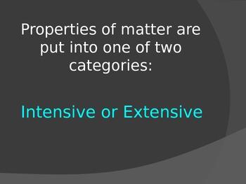 Intensive and Extensive Properties of Matter