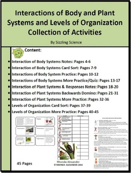 Interaction of Body Systems, Plant Systems and Organizatio