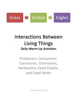 Interactions Among Living Things 12 days of 5 minute warm