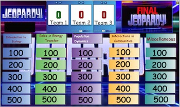 Interactions of Living Things Review Jeopardy Game, Middle