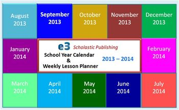 Interactive 2013-2014 Calendar & Weekly Lesson Planner for