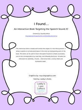 Interactive Book Targeting Speech Sound /f/: I Found...
