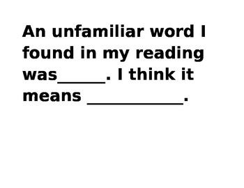 Interactive Daily Reading Sentence Stems