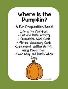 Interactive Emergent Reader, Where is the Pumpkin? Preposi