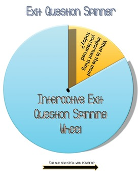 Interactive Exit Question Spinning Wheel All Grades
