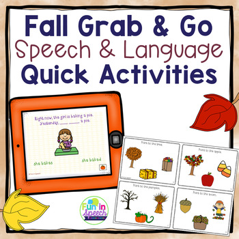 Fall Speech & Language bundle - Tablet Activities & Worksheets!