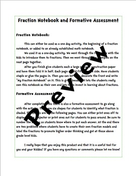 Interactive Fraction Notebook and Assessment