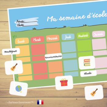 Interactive French School Calendar /  Ma semaine d'école :