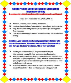 Interactive Informational Writing Graphic Organizer