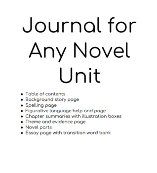 Interactive Journal For Any Novel Unit