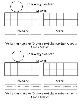 Interactive Journal-Writing numbers