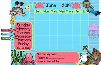 Interactive June Calendar for ActivInspire