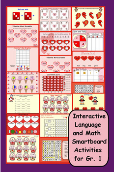 Interactive Valentine's Day Language and Math Smartboard A