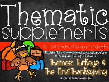 Interactive Literacy Notebook Thematic Supplements {Turkey