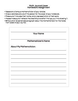 Interactive Math Notebook: Cover Assignment