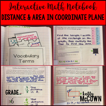 Interactive Math Notebook: Distance and Area in the Coordi
