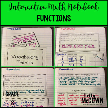 Interactive Math Notebook: Functions {Grade 8}