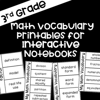 Interactive Math Notebook Printables for 3rd Grade