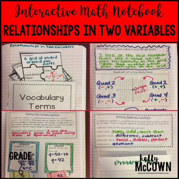 Interactive Math Notebook: Relationships in Two Variables