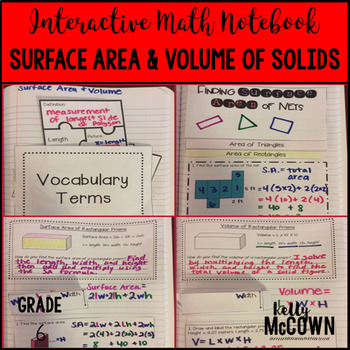 Interactive Math Notebook: Surface Area & Volume of Solids