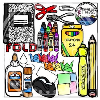 Interactive Notebook School Supplies Clipart Bundle