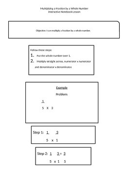Interactive Notebook Lesson: Multiplying a fraction by a w