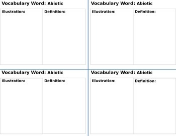 Interactive Notebook Science Vocabulary Cards Set 1