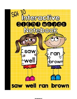 Interactive Notebook Sight Words (saw,well,ran,brown) Prim