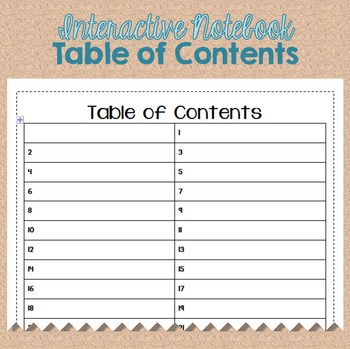 Interactive Notebook Table of Contents