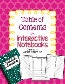 Interactive Notebook - Table of Contents for Students