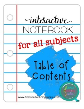Interactive Notebook Table of Contents pages FREEBIE - For