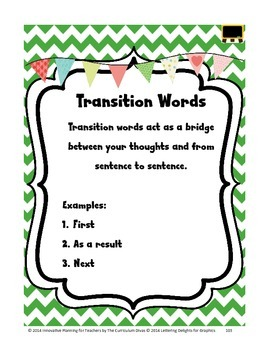Transition Words Lesson Grades 2-5