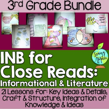 Close Reading Bundle Interactive Notebook 3rd Grade Free Sample