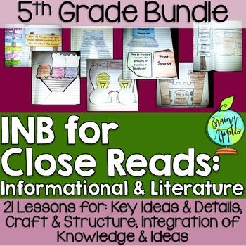 Close Reading Bundle Interactive Notebook 5th Grade Free Sample