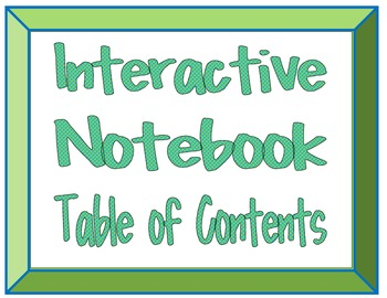 Interactive Notebooks Table of Contents
