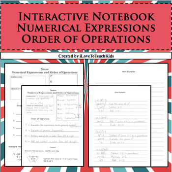 Interactive Notebook Notepage Numerical Expressions & Orde