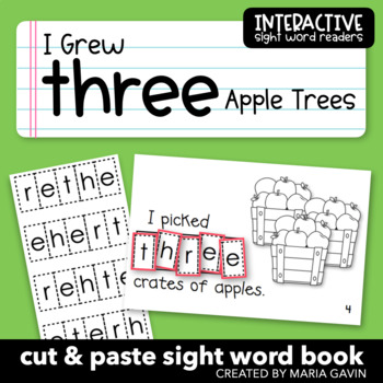 "Interactive Sight Word Reader ""I Grew THREE Apple Trees"""